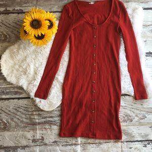 Topshop long sleeve red dress